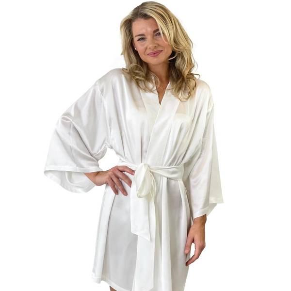 Bilde av Kimono i silke - hvit