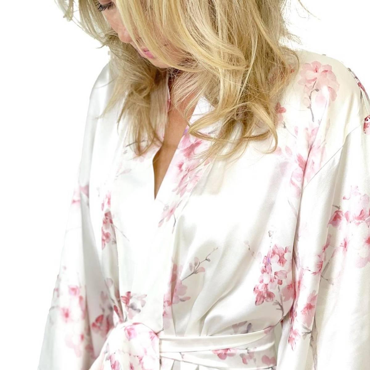 Kimono i silke - rosa print