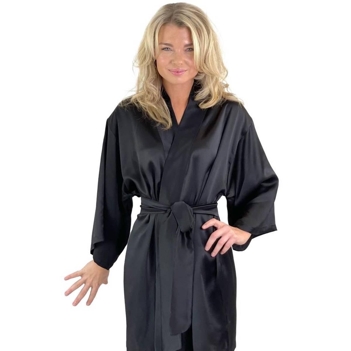 Kimono i silke - sort