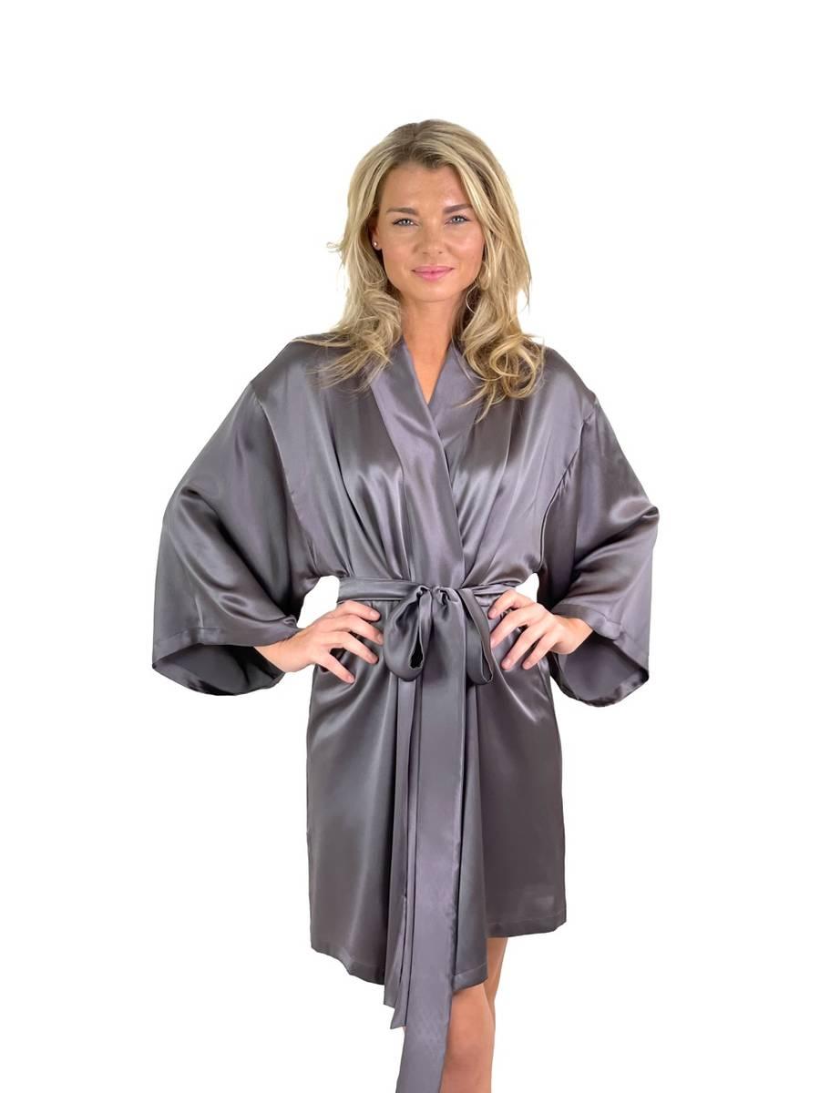 Kimono i silke - koksgrå